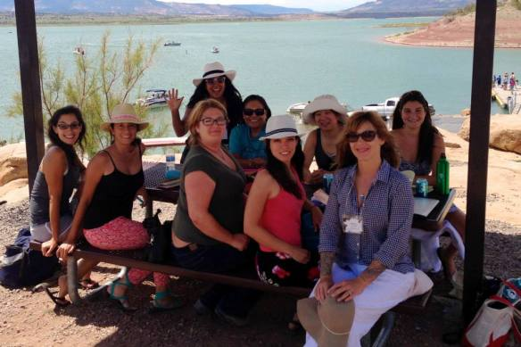 """Writing on the Edge"" Group with Jillian Lauren at Abiquiu Lake (Photo Credit: Rachel Schwerin)"