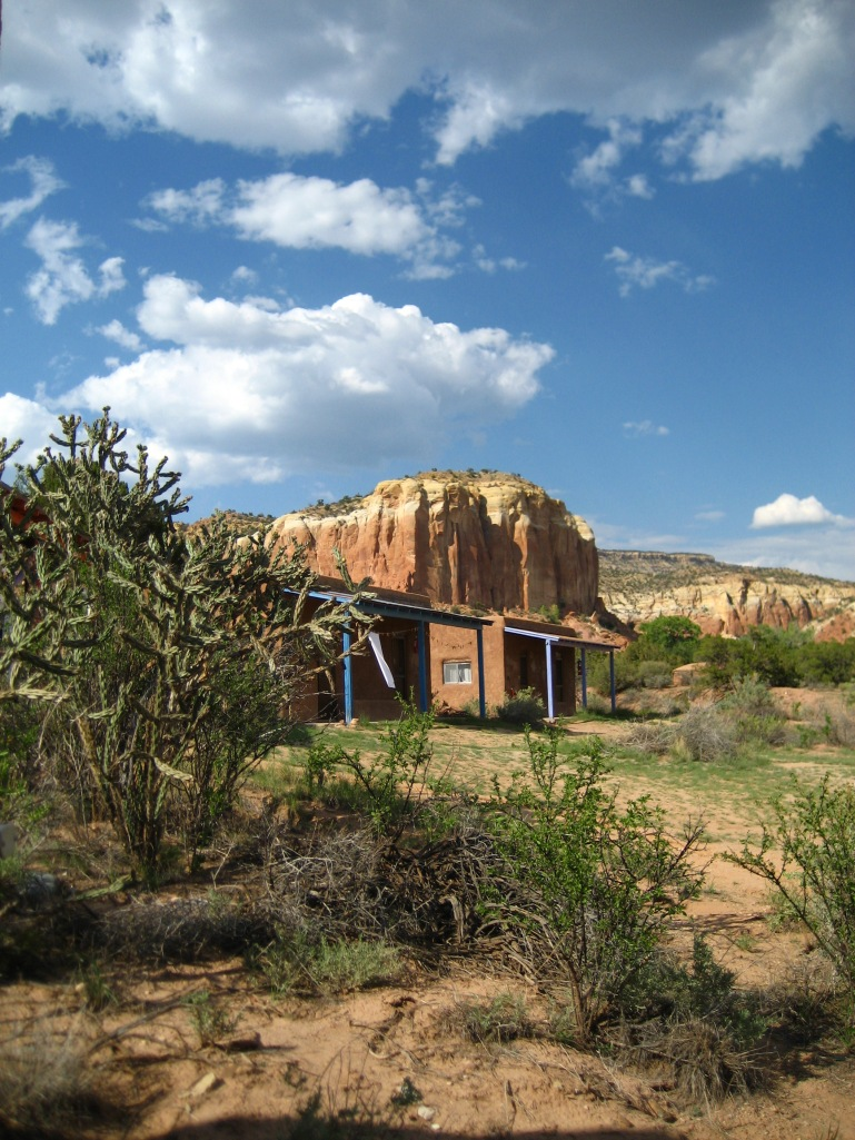 Rustic adobe casitas tucked into the stunning Ghost Ranch landscape